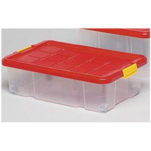 Rollen Bett (Unimet Unterbettbox mit Rollen 60x40x18cm,     Box transparent, Deckel  farblich sortiert)