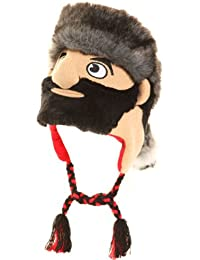 Mens Fancy Dress Novelty Knitted Peru Face Hat in One Size Cossack with black beard