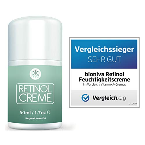 Bionura Retinol Feuchtigkeitscreme Creme mit 2,5% Retinol, 15% Vitamin C & 5% Hyaluronsäure – Der effektivste Natürliche Anti Aging & Anti Falten Retinol Feuchtigkeitsbehandlung ohne die irritierenden Nebenwirkungen. 50 ml - 2