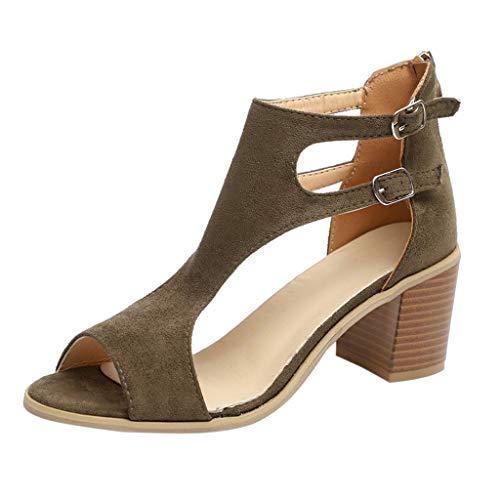 Bazhahei sandali estivi donna con tacco eleganti tacco spesso slip-on selvaggio hollow out scarpe roma traspirante scarpe da lavoro per shopping partito