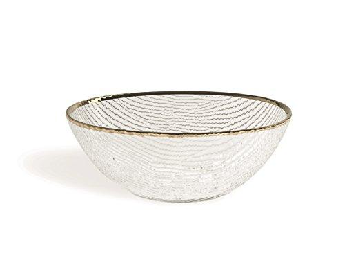 Excelsa Gold Saladier, Verre, Transparent/Bord Or, 23 x 23 x 10 cm