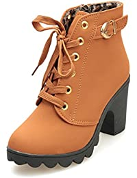 Botas,Manadlian Zapatos moda mujer Botas tacón alto Botas encaje hasta el tobillo Zapatos damas