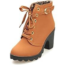 Manadlian_Botas Botas,Manadlian Zapatos moda mujer Botas tacón alto Botas encaje hasta el tobillo Zapatos damas