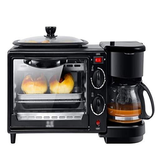 QPSGB Backofen-Toaster Frühstücksautomat mit Multifunktionsfunktion Startseite Drei-in-1-Kaffeemaschine Toaster Mini-Elektroherd Omelett (einschließlich 2 Öfen) - Backöfen (Farbe : Schwarz) (Kaffeemaschine Toaster Ofen Mit)