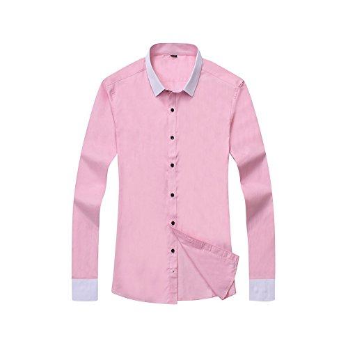 Bmeigo Uomo manica lunga Spread Collar Slim Fit Camicie classiche -H20 Pink