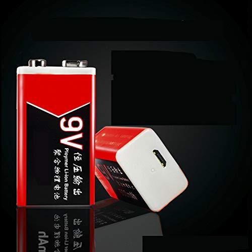 Metermall haltbare Batterie Micro USB wiederaufladbare Lipo Batterie 9V Batterie f¨¹r Multimeter-Metalldetektor 400MAh