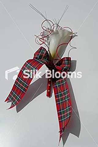 Modernes Scottish Tartan Cala Lily Designer Knopfloch Jeweled (Jeweled Lily)
