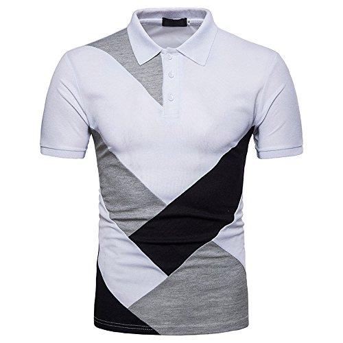 n, 2018 Sommer Mode Persönlichkeit Männer Casual Schlank Patchwork Kurzarm T-Shirt Top Bluse (L, Weiß) (Walking Dead Kostüme 2017)