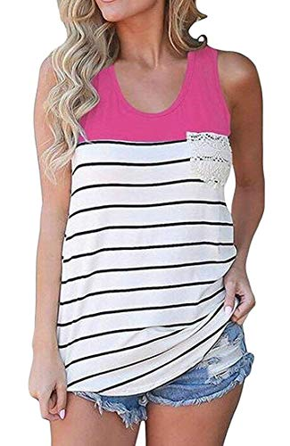 Vests Home Frauen Stitching Racerback Gestreifter Kontrast Hot Lace Tank Camis (Color : Rose Red, Size : Large) -
