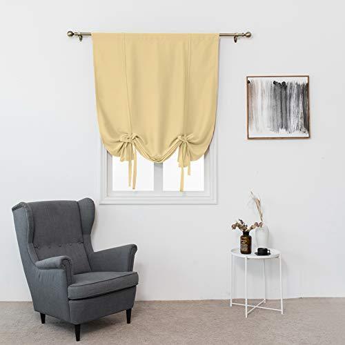 Raffvorhang, einfarbig, Thermo-isoliert, Verdunkelungsvorhang für kleine Fenster, Balloon, Fensterbehandlung, Heimdekoration, 80 x 120 cm, natürlicher farbton, Free Size - Farbtöne Schwarze Römische