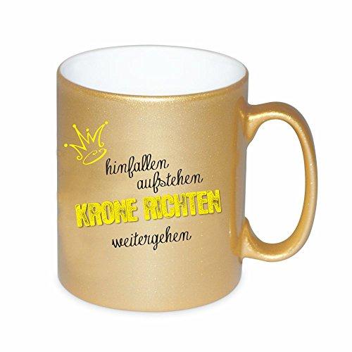 """Goldene Tasse """"hinfallen, aufstehen, Krone richten, weitergehen"""" Kaffeetasse Kaffeebecher Geburtstagsgeschenk Weihnachtsgeschenk Geschenkidee für sie Mutter/ Freundin/ Schwester"""