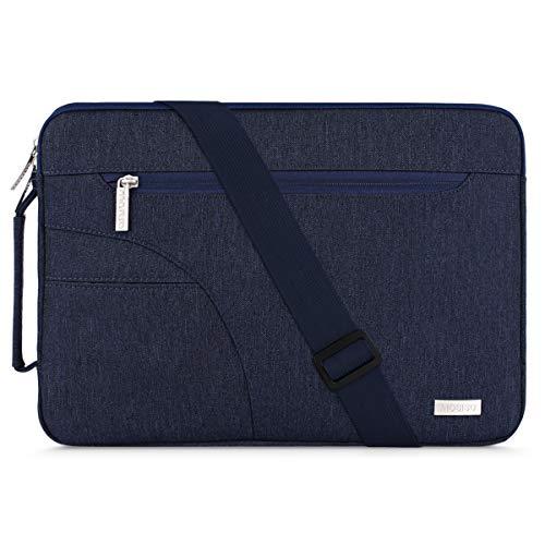 MOSISO Laptop Schultertasche Kompatibel mit 13-13,3 Zoll MacBook Pro, MacBook Air, Notebook Computer, Polyester Flapover Bote Aktentasche Sleeve Hülle Laptoptasche, Navy Blau