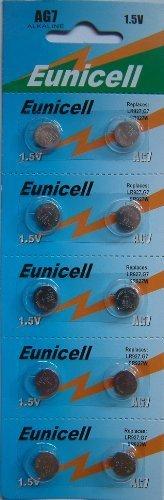 Eunicell AG7 Alkaline Knopfzellen / Batterien, G7 LR57 LR57SW LR926 LR926SW SR926W L926E LR927 LR927SW 395 399, 10 Stück 399 Silver Oxide Watch Battery