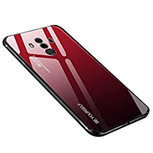 Huawei Mate 10 Pro Case, Anti-scratch Tempered Glass Back Cover + TPU Frame Hybrid Shell Slim Case Silicone Shockproof Cover for Huawei Mate 10 Pro (Huawei Mate 10 Pro, Red black)