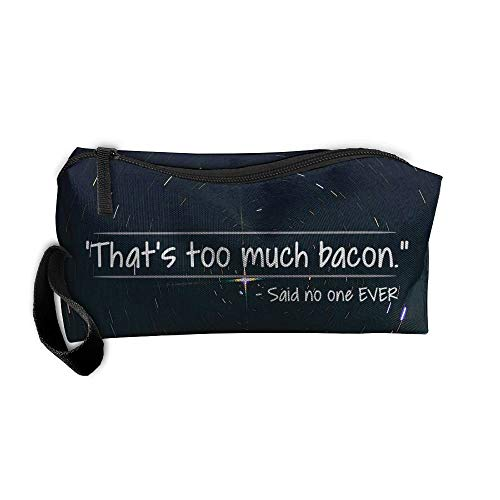 That's Too Much Bacon Makeup Bag/Travel Cosmetic Bag/Brush Pouch Case With Zipper Carry Case Lacrosse Zip