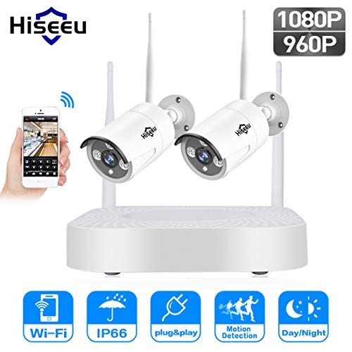 LLC - Hiseeu 2-Kanal HD 1080P Wireless Mini Sicherheitskamera System, IP Wireless WiFi Mini NVR Kits, 2Stücke 2,0 Megapixel Wireless Indoor/Outdoor IR Bullet IP Kameras P2P App True H. 264 Dvr