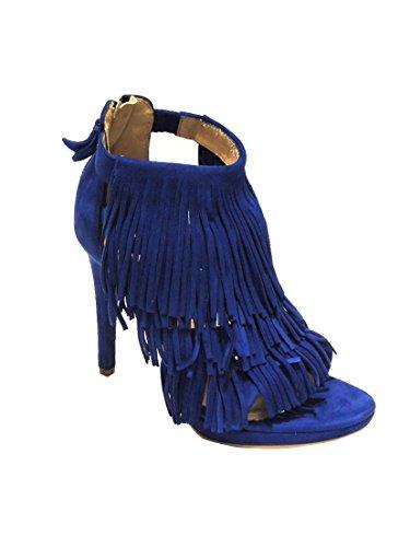 Bruno Premi sandalo donna con frange scamosciato con tacco blu elettrico F3304N (40)