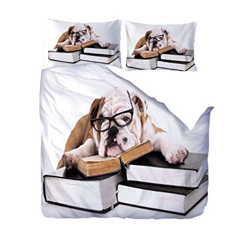 UOUL Bettwäschesatz 3-teilig weicher 3D-Druck süßer Hund cool realistisch geeignet für Jugendliche, Studenten, Schlafzimmer Queen,Dog,Single