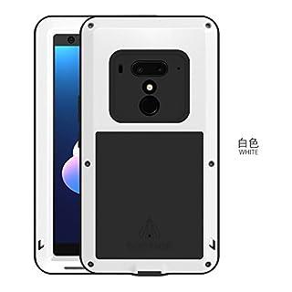 Original Love MEI, HS-Top,Aluminium Leistungsstarke stoßfest Staubschutz Gorilla Glass Metal Case Schutzhülle hüllen case Handy Schutz Schale für HTC U12+ (Weiß)