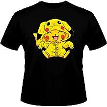 T-Shirt Manga - Parodie de Pikachu de Pokemon Cosplayé en... Pikachu :) - Imbattable dans les concours de Cosplay... :) - T-shirt Homme Noir - Haute Qualité (880)