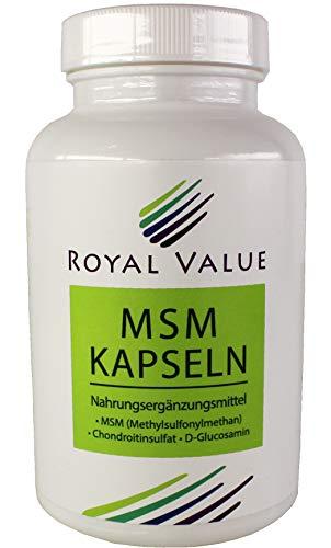 MSM Kapseln - Royal Value - mit der MSM + D-Glucosamin + Chondroitinsulfat Kombination, ohne Magnesiumstearat - hergestellt in Deutschland, 120 Stück