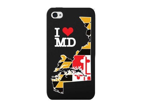 Cellet Maryland Flagge mit Karte Proguard Schutzhülle für Apple iPhone 4/4S, Schwarz