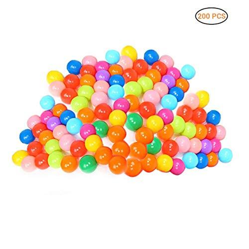 Daxoon 200 Bolas de plástico para Jugar con 8 Colores Vibrantes, Bolsa de Malla, para Uso en bebés o niños pequeños, túneles para Tiendas de campaña para Interiores y Exteriores