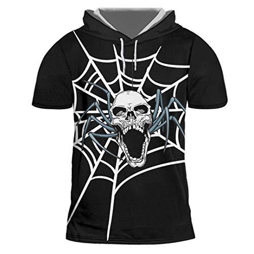 Das Spinnennetz und die Schädel der gedruckten Männer Trend lässiges Hip-Hop-Halloween-T-Shirt Spider Web Skulls XL