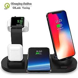 Station de charge pour les appareils multiples, support de charge d'Apple Watch, Dock Station de recharge pour AirPod, Fast station chargeur sans fil pour iPhone / Samsung / Divers Téléphone,B