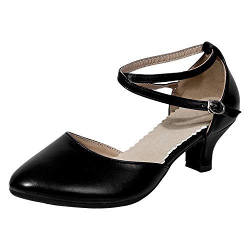 ABsoar Latin Salsa Tanzschuhe Damen Kristall Sandalen Glänzend Mode Elegant Pumps Sommer High Heel Stiletto Schuhe für Tanzen Rumba Waltz Prom Ballroom (Schwarz,37) -
