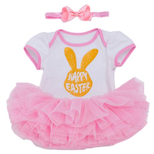 Neugeborene Ostern Baby Kleidung 3tlg Set Osterhase Prinzessin Outfits Kurzarm Strampler +Tutu Rock +Stirnband Kostüm