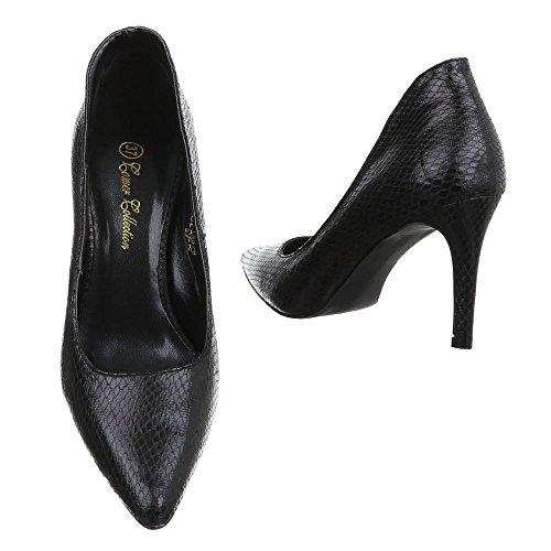 Damen Schuhe High Heels Plateau High Heel Pumps Pfennig-/Stilettoabsatz Schwarz