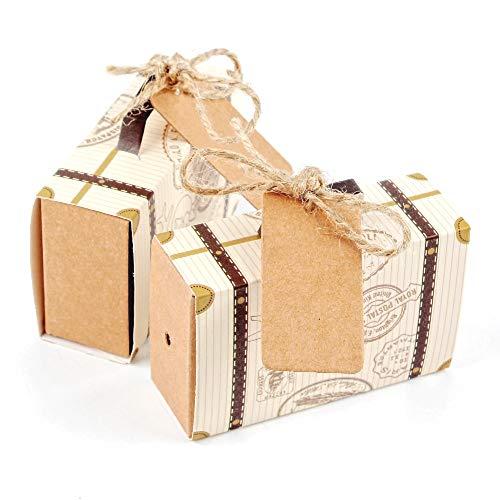 JZK 50 Mini caja favor hilo yute Papel kraft Caja