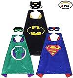 Qemsele Kinder Umhänge Masken Kostüm für Mädchen Jungen, 3 Pack Superheld Verrücktes Kleid für...