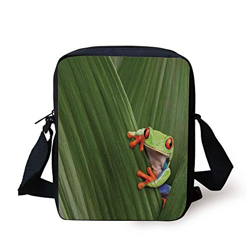 Animal Decor,Red Eyed Tree Frog Hiding in Exotic Macro Leaf in Costa Rica Rainforest Tropical Nature Photo,Green Print Kids Crossbody Messenger Bag Purse -
