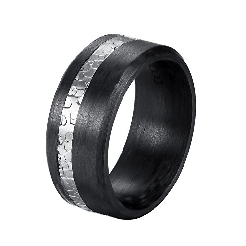 DOOSTI Carbon Ring/Partnerring Carbon mit Edelstahl