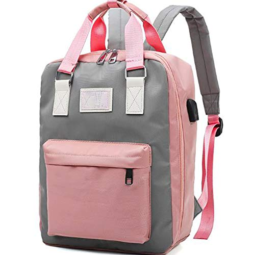 QJIN Mode Umhängetasche Mamabeutel Mutter große Wickeltasche große Kapazität Mutter und Baby Tasche bequem und bequem-Pink