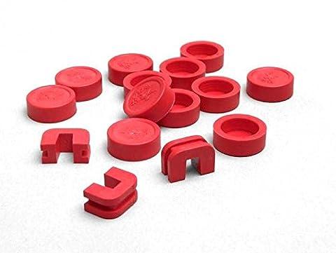 Capuchons pour rôle cœurs–HEBO-17x 12mm–rouge