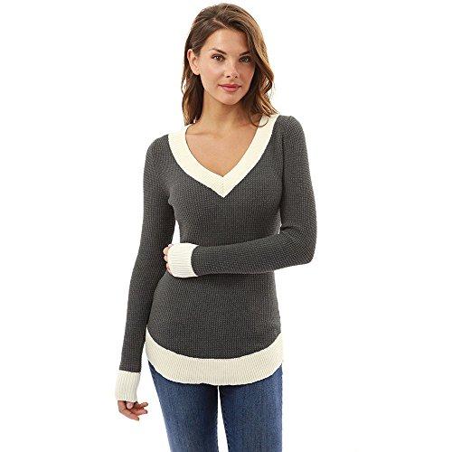 BHYDRY Pullover Damen Frauen-V-Ausschnitt-Lange Hülsen-beiläufige Kurvensaum-Strickjacke Frauen-Modeoberteile(Small,Grau)