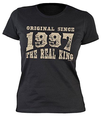 20 Geburtstag Damen Tshirt - Frauen 20 Jahre T-Shirt : Original since 1997 the real king -- Geburtstagsshirt 20 Damenshirt Schwarz