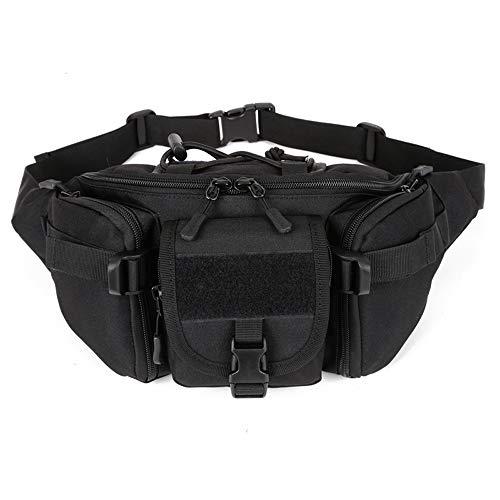 BondFree Tactical Nylon Taktische Hüfttasche Freizeittasche Molle Bauchtasche mit zu vielen Schnallen Militär Gürteltasche Reißverschluss für Freizeit Outdoor Sport Trekking Wandern Running (Schwarz)