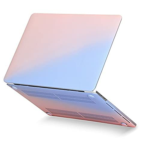 GMYLE Hard Case Cover Frosted Rubber Coated for New Macbook Pro 13 inch 2016 with/without Touchbar (A1706/A1708) with USB-C port - Baby Pink & Serenity Blue Fade Pattern
