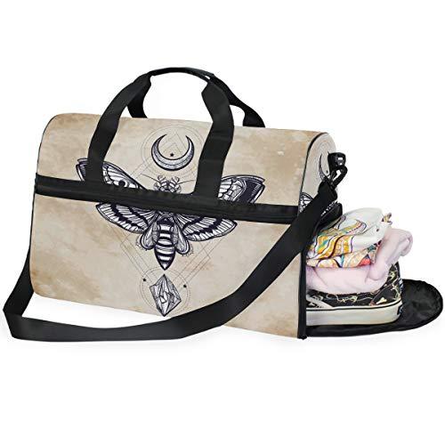 Dallonan Große Kapazität Reisetasche Totenkopf Hawk Motte mit Monden und Steinen Duffel Tasche Gym Schuh Fach Sport Tote Bag Handtasche