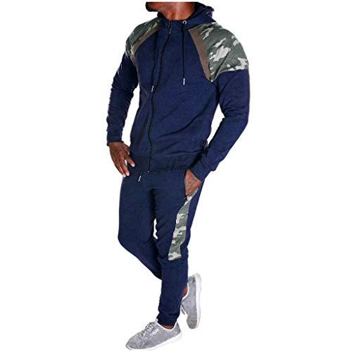Herren Camouflage Trainingshose+Kapuzenjacke Jogginganzug Army Trainingsanzug Jogging Kostüm Sweatshirt Sportanzug Sweatjacke Hose Anzug Fitness Yoga Trainingshose Sporthose Sweater Pullover