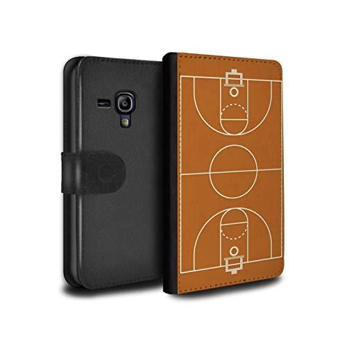 eSwish PU-Leder Hülle/Case/Tasche/Cover für Samsung Galaxy S3 Mini/Basketball Muster/Amerikanisch Sportplatz Feld Kollektion (Samsung Case Mini Basketball S3)