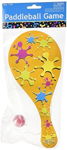 12 Wooden Neon Paddleball Games - great kids game party favors for Birthday or LUAU by wd