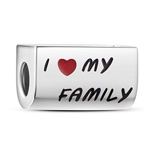 """Tinysand Bead Charm Personalisierte rechteckig in 925 Silber """"I Love My Family Foto zusätzliche geeignet für Pandora Armband"""