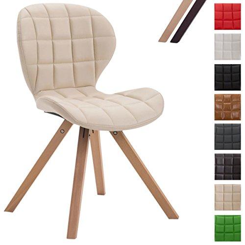 CLP Chaise visiteur ALYSSA pietement carré simili cuir assise rembourrée lounge support bois crème, Piètement: nature