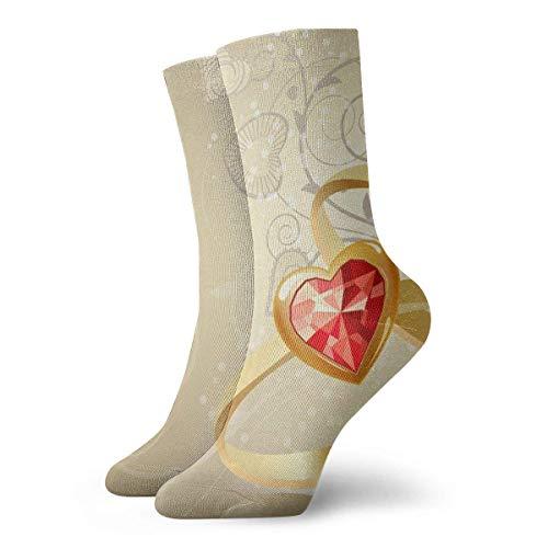 Jxrodekz Neuheit lustige verrückte Crew Socke Zwei Goldringe gedruckt Sport athletische Socken 30cm Lange personalisierte Geschenksocken