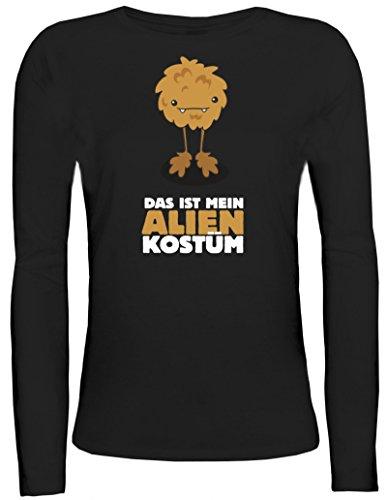 Kostüm Girly Alien - Fasching Karneval Damen Longsleeve Langarm T-Shirt mit Das ist Mein Alien Kostüm 6 Motiv, Größe: L,Schwarz